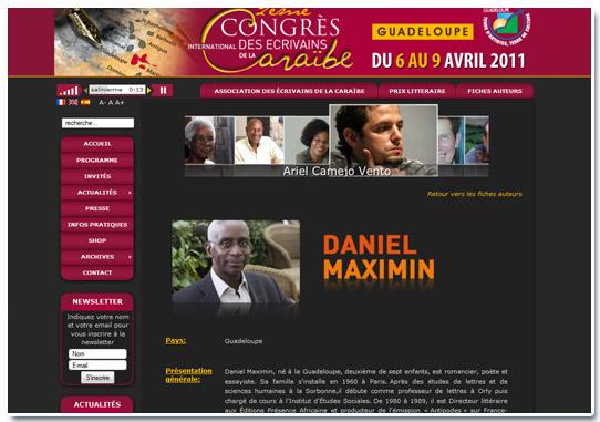 Congrès des écrivains de la caraibe Fiches Auteurs